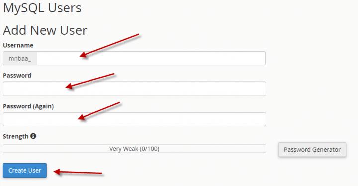 كيفية انشاء او حذف اسم مستخدم لقاعده البيانات (Cpanel) 2